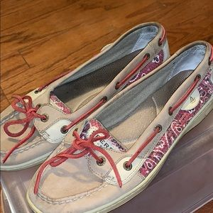 Paisley red sperry topsider shoes